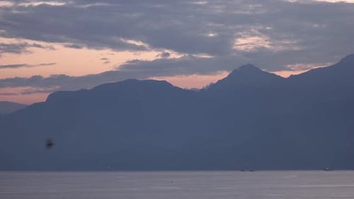 Silhouette of Mountains with Sunset Sky in the Background