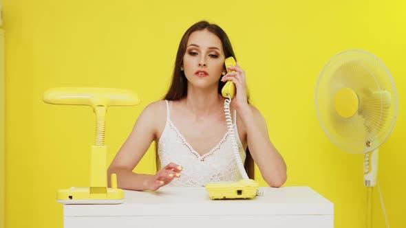 Woman Has Business Phone Talk