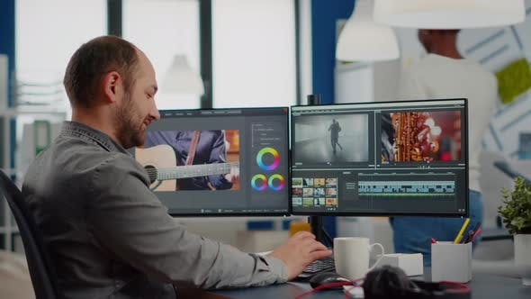 Video Maker Editing Movie Using Post Production Software