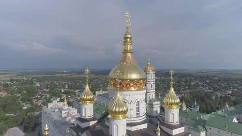 Golden cupolas at Pochaev Monastery