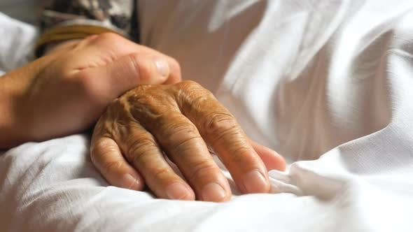 Thumbnail for Unrecognizable Man Gently Stroking Hand of His Sick Mother Showing Care or Love. Grandson Comforting