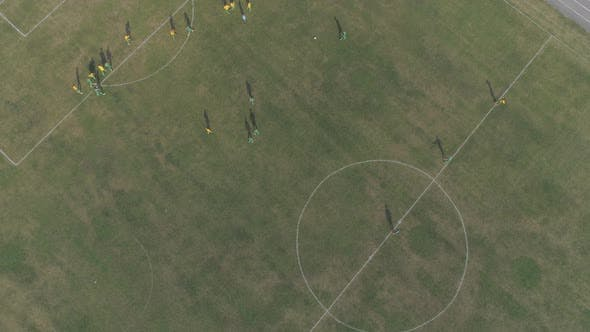 Thumbnail for Aerial view of players on a soccer field