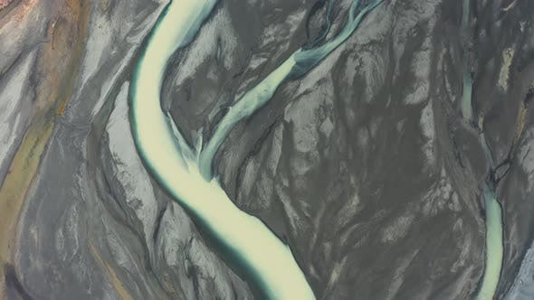 Cover Image for Aerial View of Patterns of Icelandic Rivers Flowing Into the Ocean. Iceland in Early Spring