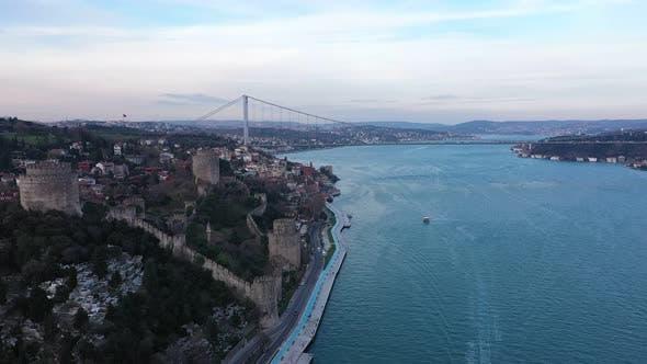 Thumbnail for Istanbul Bosphorus Bridge And Old Rumeli Fortress Bridge  Aerial View