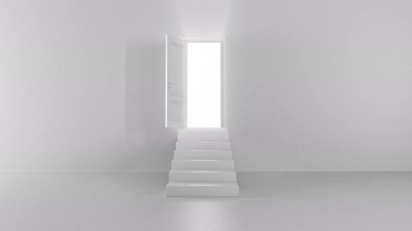 Thumbnail for Shine of an Open Door with Steps in a Bright Room