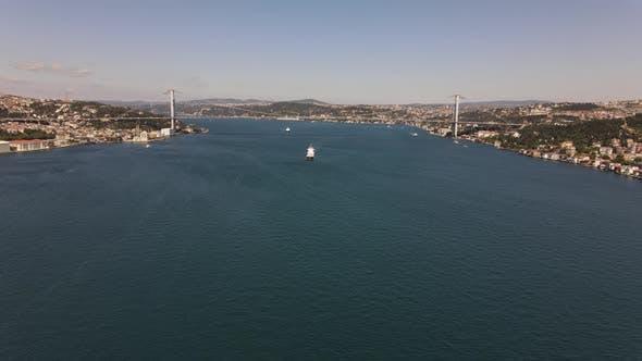 Ship Passing Bosphorus Istanbul Drone Shot