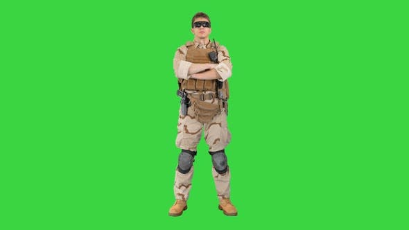 Thumbnail for Private Military Contractor with Crossed Arms on a Green Screen, Chroma Key