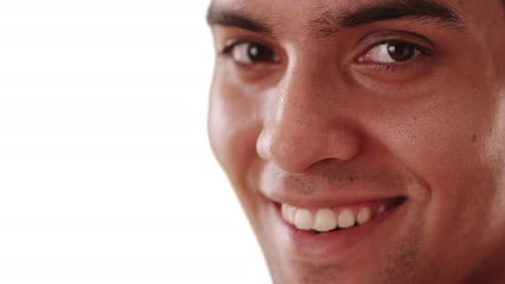 Thumbnail for Close up of smiling millennial Hispanic man on white background with copy space