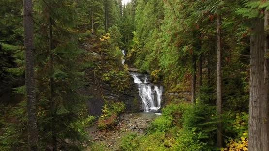 Flight Toward Waterfalls at Sweet Creek Falls