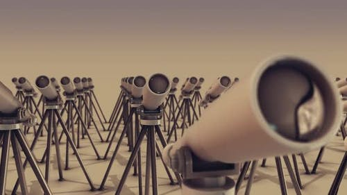 A Lot Of Telescopes In A Row Hd