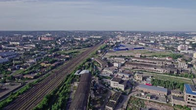 Buildings and Materials Warehouse in the Industrial City Zone From Above
