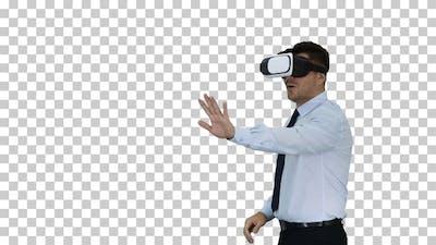 Businessman in Virtual Reality Headset Walking in Virtual World