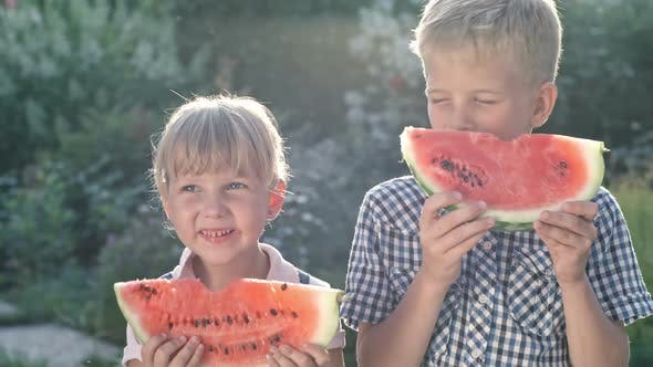 Thumbnail for Happy Brother and Sister Eating Watermelon in Garden