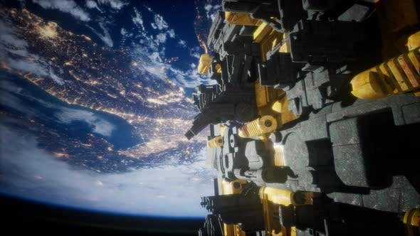 Spaceship with View on Space and Planet Earth