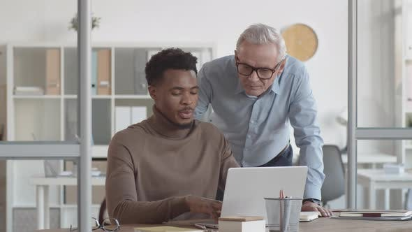 Caucasian Manager and Black Associate Discussing Project on Laptop