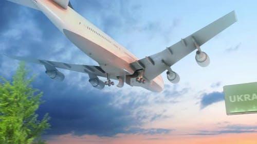 Flugzeug Ankunft in die Ukraine