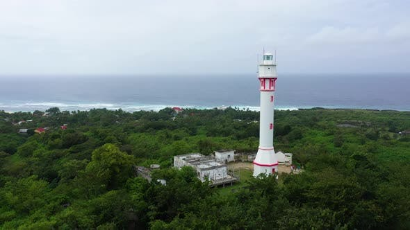 White Tower Lighthouse on a Large Island, Top View