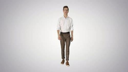Handsome Young Wearing White Shirt Walking on Gradient Background