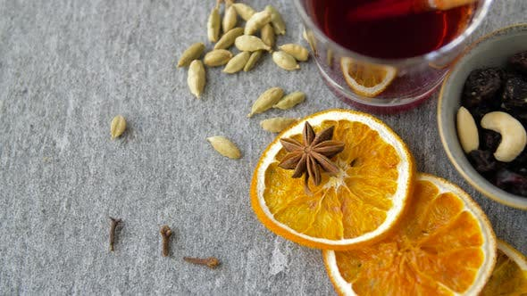 Thumbnail for Hot Mulled Wine, Orange Slices, Raisins and Spices 1