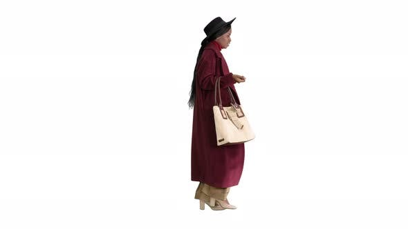 Thumbnail for Beautiful African American Woman Walking on White Background