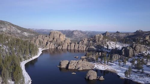 Beautiful Scenic Lake or Pond or Reservoir Impoundment Man-made in Black Hills Pine Forest