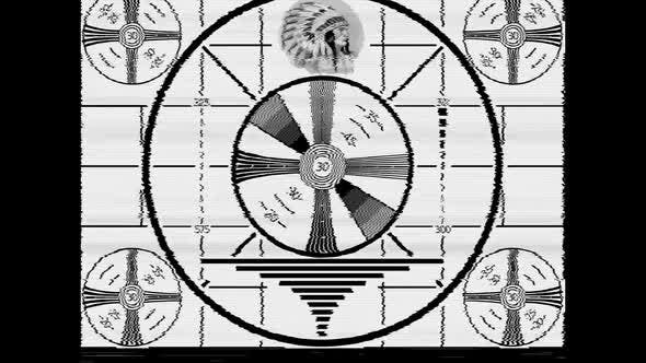 Indian Head Test Pattern TV Broadcast Signal with Sine Wave Test Signal Tone