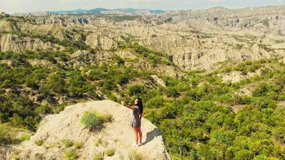 Beautiful Woman Pose For Social Media In Scenic Location