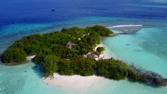 Thumbnail for Tropical birds eye island view of a sunshine white sandy paradise beach and aqua turquoise water bac
