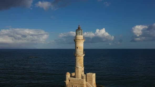 Thumbnail for Lighthouse in Greece Circular Overflight of Quadcopter. Chania. Greece. Crete October