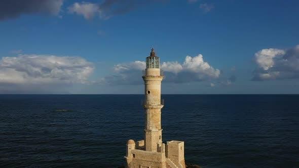 Lighthouse in Greece Circular Overflight of Quadcopter. Chania. Greece. Crete October