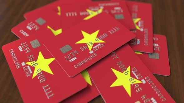 Thumbnail for Pile of Credit Cards with Flag of Vietnam