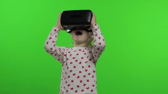 Thumbnail for Child Girl Using VR App Helmet To Play Simulation Game. Watching Virtual Reality 3d Video