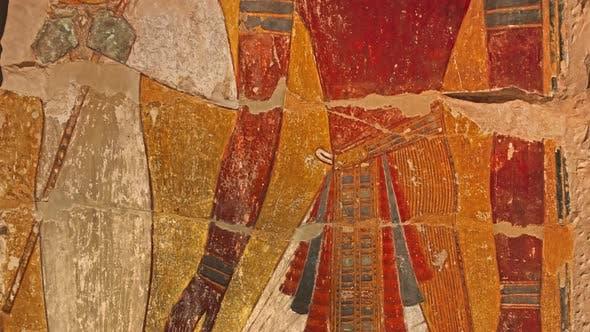 Stone wall with ancient Egyptian pharaoh fresco