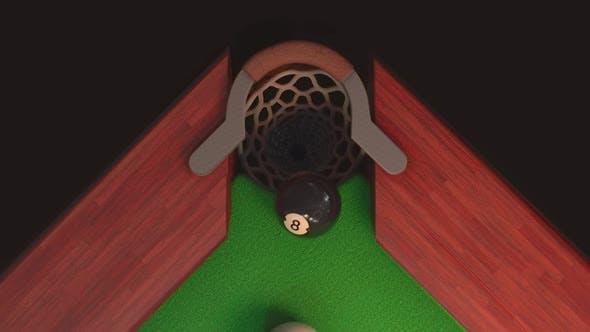 Бильярдный стол сверху удар по черному шару 8 Он летит в отверстие в Замедленное движение