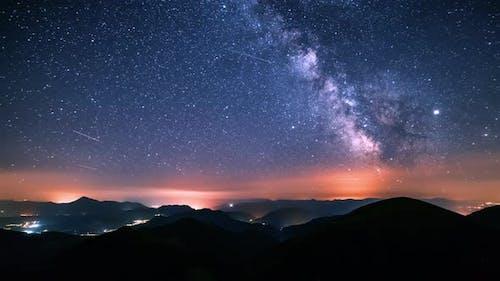 Dark Sky Starry Night with Milky Way Galaxy Stars Summer Astronomy