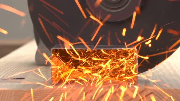 Thumbnail for Angle Grinder Cutting a Metal Profile