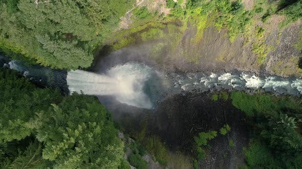 Thumbnail for Overhead Aerial Of Brandywine Falls Waterfall Flying Horizontal In British Columbia