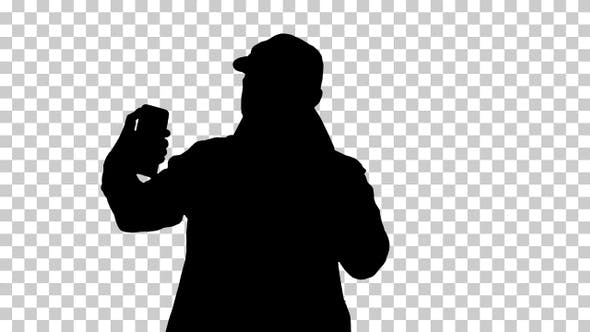 Thumbnail for Silhouette man taking a selfie, Alpha Channel