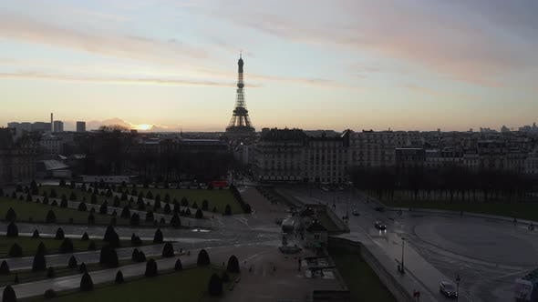 Thumbnail for AERIAL: Rising Up Over Beautiful Paris, France Revealing Eiffel Tower,Tour Eiffel in Epic Sunset