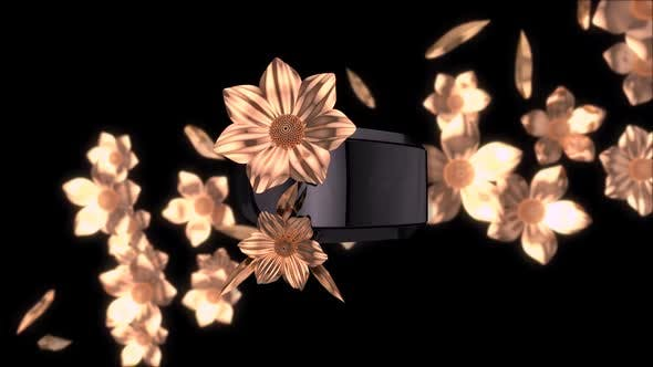Thumbnail for Abstract background of virtual reality with golden flowers