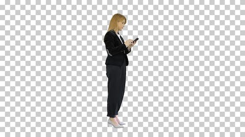 Fail, Loss, Frustrated Woman using Smartphone, Alpha Channel