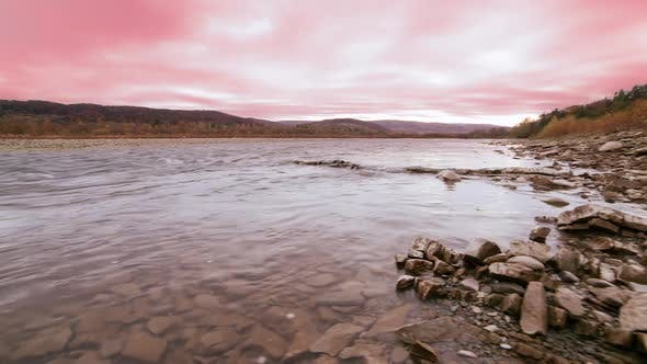 Wild Mountain River Close Up Abundant Clear Stream