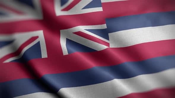Hawaii State Flag Close Up HD