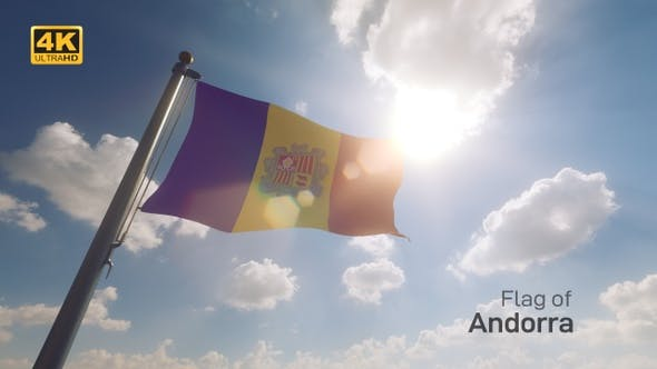Andorra Flag on a Flagpole V2 - 4K