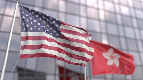 Waving Flags of the United States and Hong Kong
