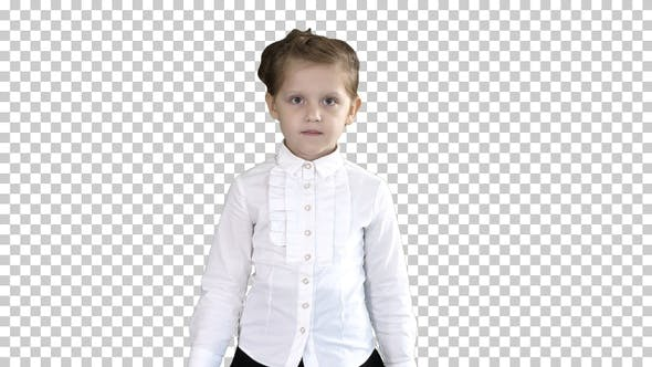 Thumbnail for Little Serious Girl Walking Towards Camera, Alpha Channel