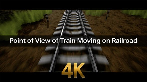 Point Of View Of Train Moving On Railroad