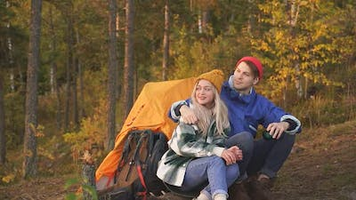 Lovely Caucasian Couple is Enjoying Time on Mountains