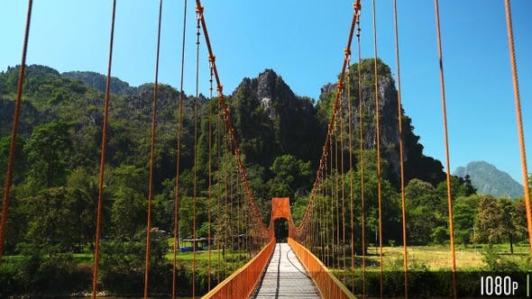 Thumbnail for Empty Wood Suspension Bridge Walkway in the Mountains of Vang Vieng, Laos