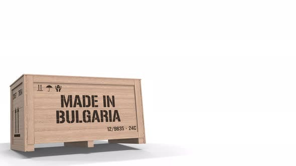Wooden Crate with Printed MADE IN BULGARIA Text